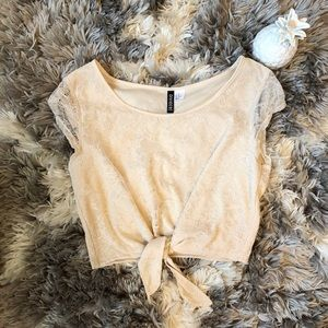 H&M Lace Pink Tie Up Top